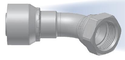 37 3V - koncovka DKJ středotlaká 45°úhlová s objímkou a s maticí