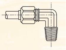 C3BM - nástrčná 90°úhlová dvoudílná spojka mosazná Metrulok