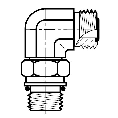 C87OMLO - hydraulická 90°úhlová spojka O-Lok
