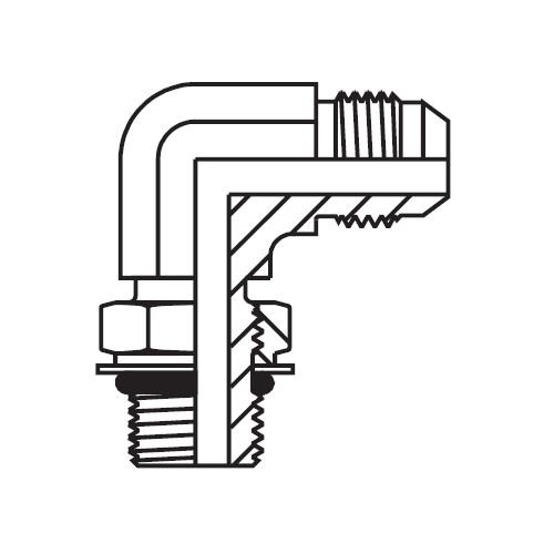 C87OMX - hydraulická stavitelná 90°úhlová spojka Triple-Lok® 37°