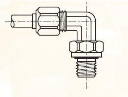 C8BM - nástrčná 90°úhlová dvoudílná spojka mosazná Metrulok