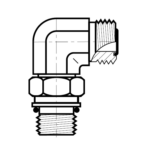 C8OMLO - hydraulická 90°úhlová spojka O-Lok
