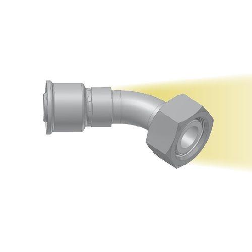 CE - koncovka DKOL nízkotlaká 45°úhlová s objímkou a maticí