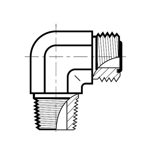 CLO - hydraulická nerezová 90°úhlová spojka O-Lok
