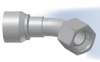 EB - koncovka DKR středotlaká 45°úhlová s objímkou a s maticí