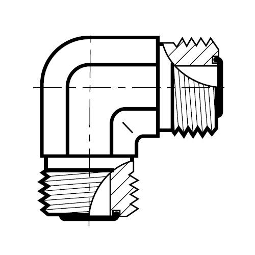 EMLO - hydraulická 90°úhlová spojka šroubení O-Lok