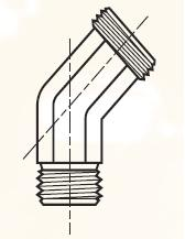 EV - pneumatický 45°úhlový adaptér pro auta mosazný