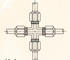 KBM - nástrčná křížová dvoudílná spojka mosazná Metrulok
