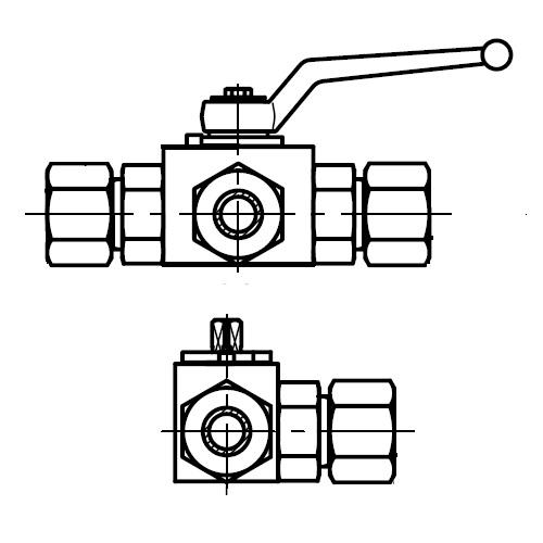 KH3\2(S) - trojcestný kompaktní ruční kulový kohout
