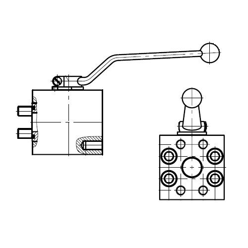 KH-B1V-S - dvoucestný ruční kulový kohout s přírubou