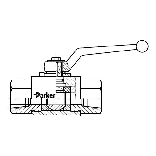 KH-NPT(S) - dvoucestný ruční kulový kohout