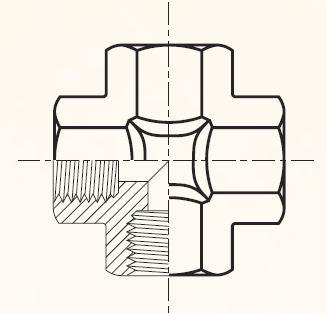 KMMOO4 - pneumatický křížový adaptér mosazný