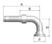 K19VS - koncovka SFL vysokotlaká 90°úhlová na přírubu