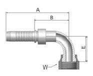 KJ9VS - koncovka ORFS vysokotlaká 90°úhlová s maticí