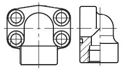 PEFF-N - hydraulická vysokotlaká 90°ůhlová příruba šroubení
