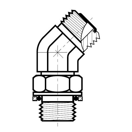 V4OMLO - hydraulická stavitelná 45°úhlová spojka šroubení O-Lok