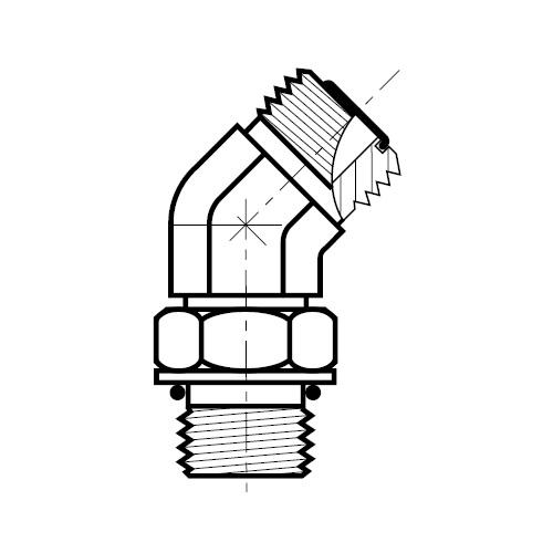 V5OMLO -  hydraulická stavitelná 45°úhlová spojka šroubení O-Lok