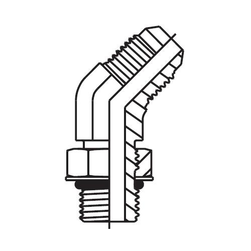 V5OMX - hydraulická stavitelná 45°úhlová spojka Triple-Lok® 37°
