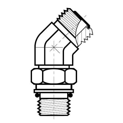 V87OMLO - hydraulická 45°úhlová spojka O-Lok