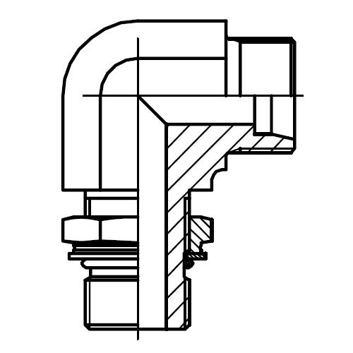 WEE-M - hydraulická stavitelná 90°úhlová spojka pojistnou maticí