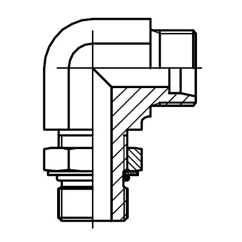WEE-UNF - stavitelná 90°úhlová spojka s pojistnou maticí