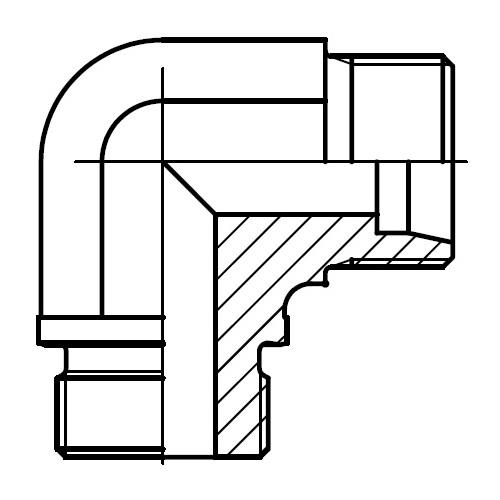 WE-R - hydraulické 90°úhlové hrdlo s těsnící hranou