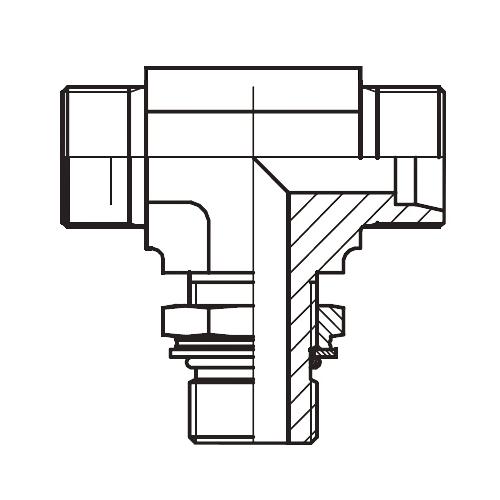 TEE-M - hydraulická stavitelná T spojka s pojistnou maticí
