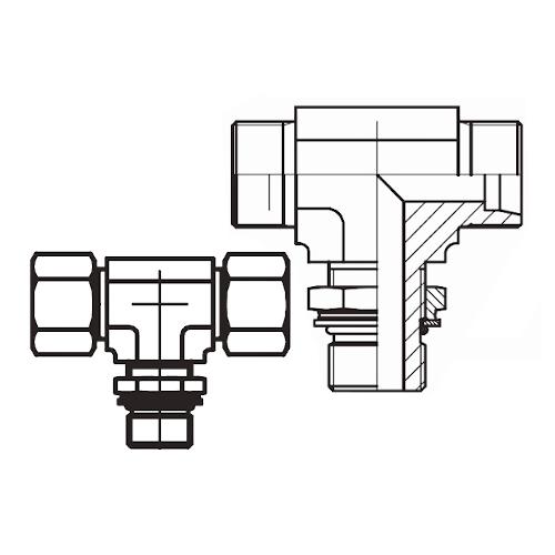TEE-R - hydraulická stavitelná T spojka s pojistnou maticí