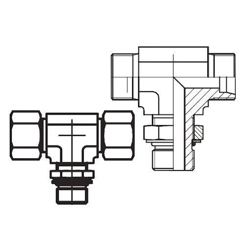 TEE-UNF - hydraulická stavitelná T spojka s pojistnou maticí