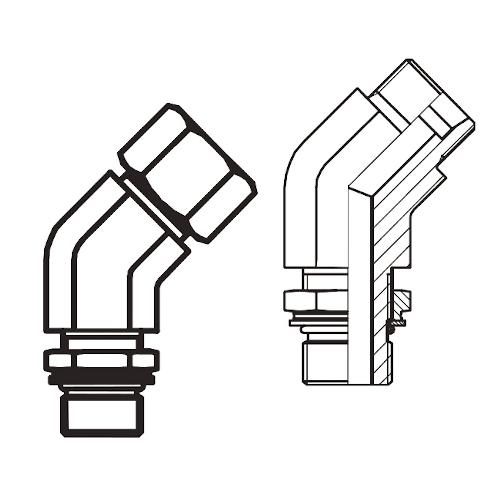 VEE-OR - stavitelné 45° úhlové šroubení s pojistnou maticí