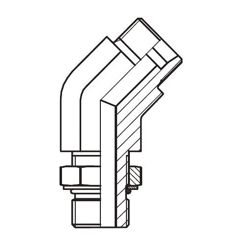 VEE-UNF - stavitelné 45° úhlové šroubení s pojistnou maticí