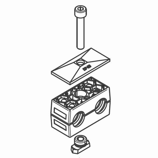 RBP5 - dvojité příchytky trubek série B kompletní sada
