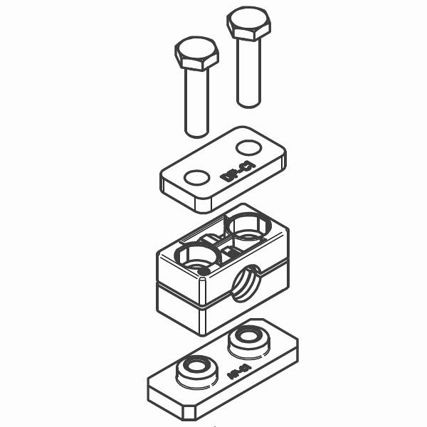 RCP1 - dvojité příchytky trubek série C kompletní sada