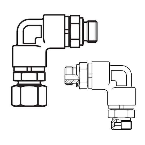 DG 208-R - hydraulické 90°úhlové rotační šroubení s ložiskem