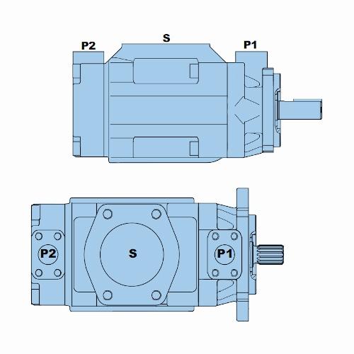 Průmyslová lamelová dvojitá čerpadla T7DD-T7DDS