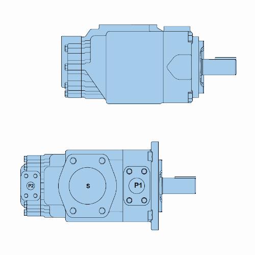 Průmyslová lamelová dvojitá čerpadla T7EB-T7EBS