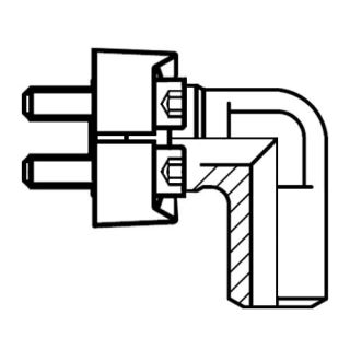 Hydraulický vysokotlaký 90°ůhlový adaptér příruby WAS